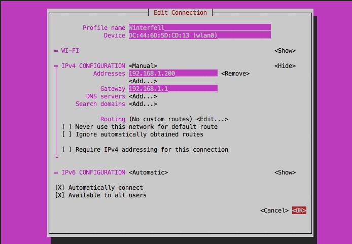 Прописываем статический IP адрес и Gateway
